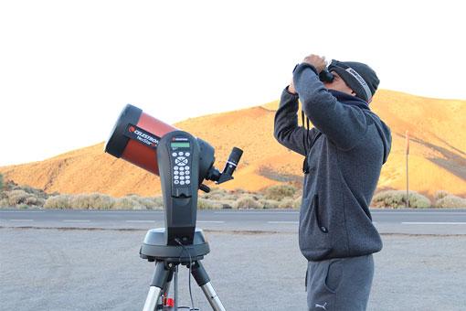 Observación de estrellas en el Teide - Telescopio y guía